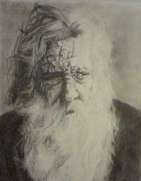 Bärtig, Portrait, Weiß, Zeichnung