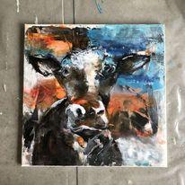 Acrylmalerei, Modern art, Kuh, Malerei