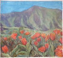 Blumen, Berge, Modern, Stillleben