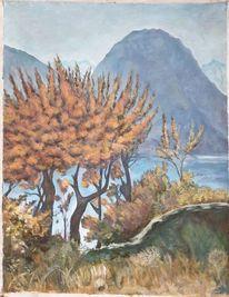 Blumen, Herbst, Landschaft malerei, Stein
