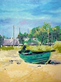 Landschaft, Fust, Boot, Schweden