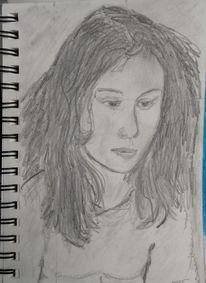 Bleistiftzeichnung, Frau, Kreide, Zeichnungen