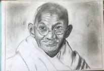 Bleistiftzeichnung, Gandhi 2, Zeichnungen,