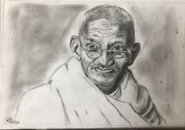 Bleistiftzeichnung, Gandhi, Zeichnungen,
