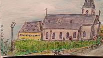 Hochheim, Kirche, Weinberg, Zeichnungen