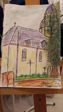 Dorf, Kirche, Barock, Zeichnungen