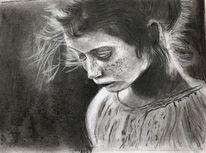 Bleistiftzeichnung, Mädchen, Traurig, Zeichnungen
