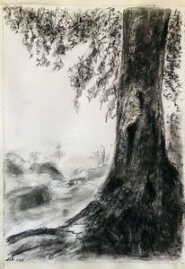 Kreide, Baum, Freund, Kohlezeichnung