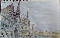 Budapest, Stadt, Fluss, Zeichnungen