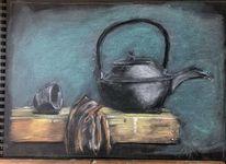 Pastellmalerei, 30 x40, Teekanne, Malerei