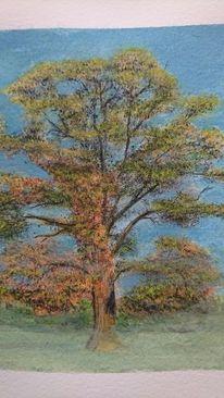 Baum, Herbst, Nebel, Aquarell