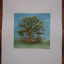 Nebel, Baum, Aquarell, Herbst