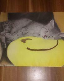 Tiefenentspannt, Katze, Schlaf, Zeichnungen