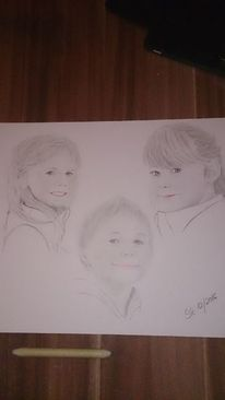Schwarz, Kinder portrait, Weiß, Zeichnungen