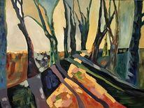 Impressionismus, Herbst, Baum, Malerei
