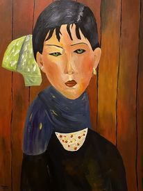 Acrylmalerei, Junges mädchen, Portrait, Malerei