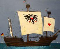 Acrylmalerei, Segelschiff, Lübeck, Malerei