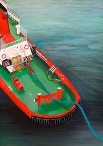 Schlepper, Schiff, Acrylmalerei, Malerei