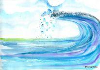 Welle, Blau, Aquarellmalerei, Landschaft malerei