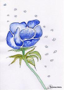 Landschaft, Blau, Aquarellmalerei, Kornblumen