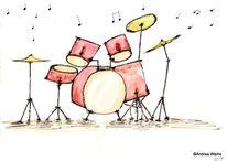 Musik, Schlagzeug, Malerei, Aquarellmalerei