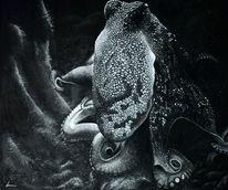 Licht, Tiere, Unterwasser, Acrylmalerei