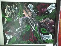 Blumen, Dunkel, Acrylmalerei, Fantasie