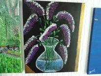 Dunkel, Gedanken, Acrylmalerei, Flieder