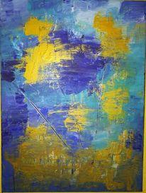 Acrylfarben, Blau, Gold, Malerei