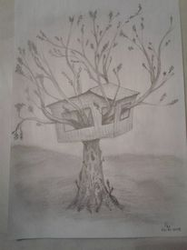 Surreal, Haus, Bleistiftzeichnung, Skurril