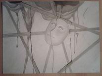 Schwarz, Bleistiftzeichnung, Maske, Surreal