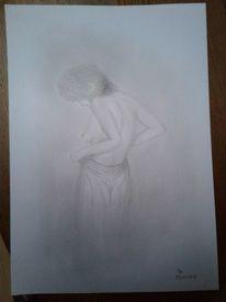 Akt, Frau, Bleistiftzeichnung, Brust