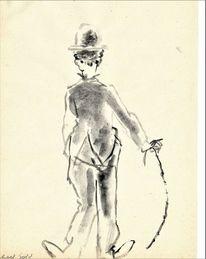Charlie chaplin, Martha krug, Kohlezeichnung, Zeichnungen