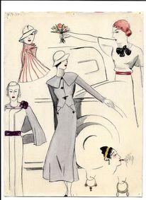 Späte dreissiger jahre, Kunstausbldg, Martha krug, Zeichnung