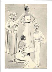 Frühe dreißiger jahre, Martha fleischer krug, Modezeichnung, Zeichnungen