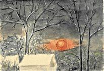 Geringswalde, Winterlich, Ca 1970 gemalt, Tagesabschied