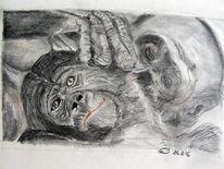 Bleistiftzeichnung, Tiere, Affe, Zeichnungen