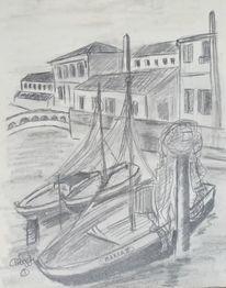 Reiseskizze, Bleistiftzeichnung, Architektur, Schiff