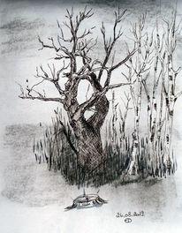 Natur, Tuschmalerei, Zeichnungen,