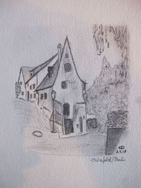 Architektur, Reiseskizze, Haus, Zeichnungen
