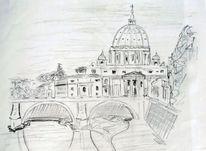 Rom, Vatikan, Bleistiftzeichnung, Zeichnungen