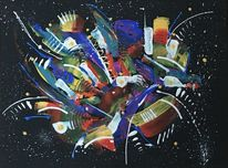 Malerei abstrakt, Schwarz, Bunt, Spachteltechnik