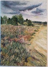 Malerei, Heide, Ölmalerei, Landschaft