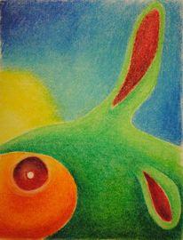 Fabelwesen, Pastellmalerei, Hase, Fisch
