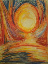 Licht, Nacht, Pastellmalerei, Malerei