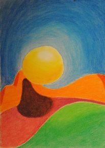 Farben, Pastellmalerei, Sonne, Landschaft