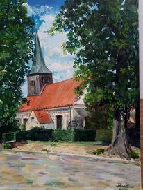 Altes gebäude, Kirche, Baum, Malerei