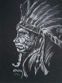 Häuptling, Portrait, Zeichnung, Zeichnungen