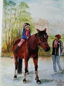 Pferde, Ausritt, Mädchen, Aquarell