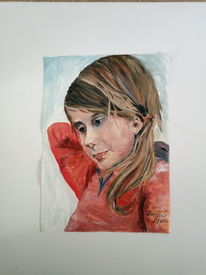 Kinderportrait, Mädchen, In gedanken, Malerei